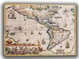 Hondius, Jodocus: Map of the Americas. Antique/Vintage 17th Century Map. Fine Art Canvas. Sizes: A4/A3/A2/A1 (003902)